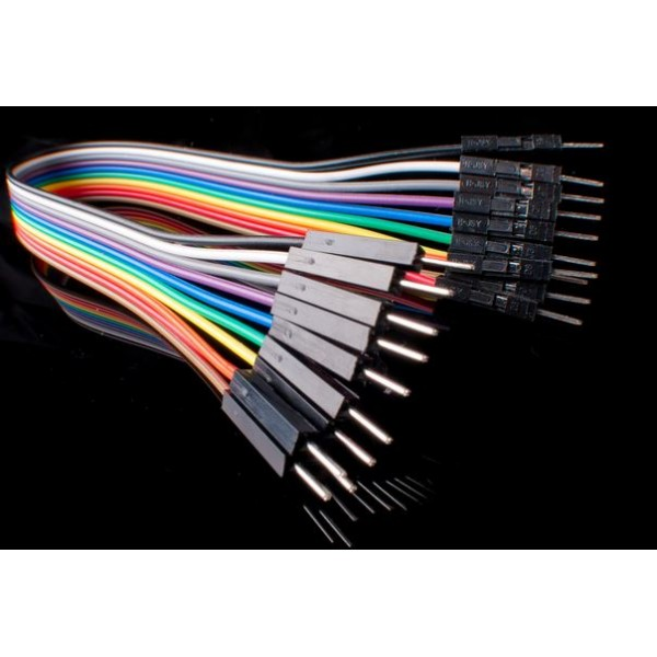 "40-Pack Premium Male/Male Jumper Wires - 7"" (180mm)"