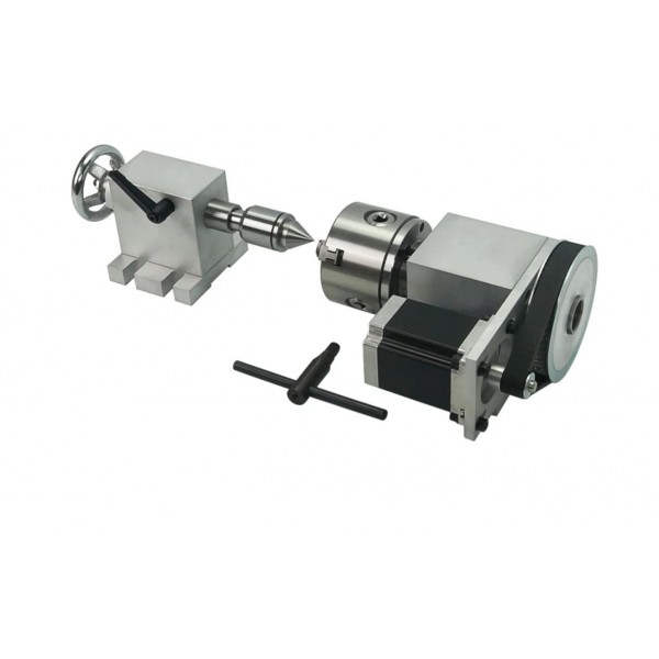 4th Axis Dividing head 6:1 Rotational Axis - CNC Rotary Axis chuck 80mm activity tailstock for CNC Router